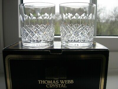 Webb -  Normandy  Cut - Two Small Whiskey Glasses = Boxed/Signed. • 25£