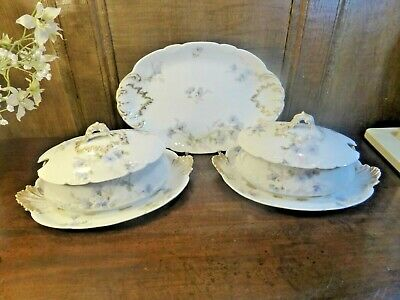 ANTIQUE LIMOGES Blue Flowers SMALL PLATTER & 2 SAUCE TUREENS With LIDS • 18.95£