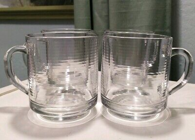 Set 4 Vintage Arcoroc France Classique Ribbed Clear Glass Coffee Cups Mugs  • 14.65£