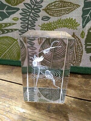 Glass Paperweight /ornament. Dragonfly & Frog.  • 14.60£