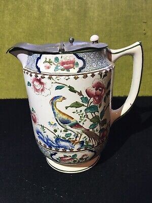 Corona Ware Pottery Jug Pewter Hinged Lid Hancocks Rockery And Pheasant Pattern • 25£