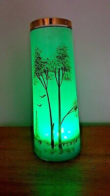 Vintage Hand Painted Glass Vase Decorated Woodland Scene With Lights • 12£