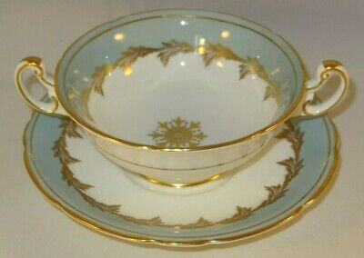 Foley Bone China 3087 Gilded Scalloped Edge Duck Egg Blue Soup Coupes Bowls 1950 • 7.99£