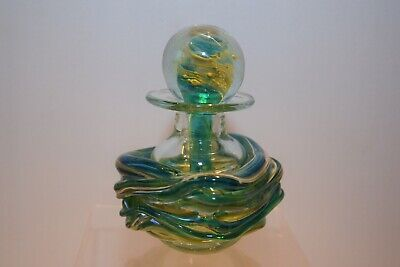 Vintage Mdina Glass Scent Bottle/Decanter. Blue/Yellow/Green. Good Condition. • 29.99£