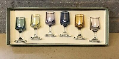 Vintage Set Of 6 Small Shot/liquer/sherry Glasses Coloured In Box Vgc • 14.99£