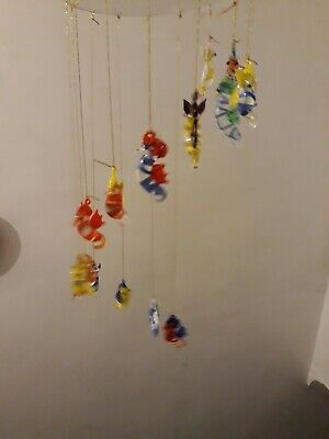Handmade Glass Seahorse Spiral Hanging Mobile LAST ONES • 7.99£