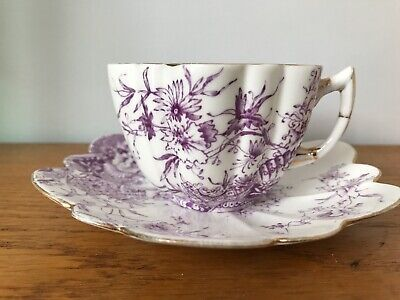 Antique Foley China Wileman  Daisy Shape Puce 4758 Pattern Cup & Saucer Shelley • 52£