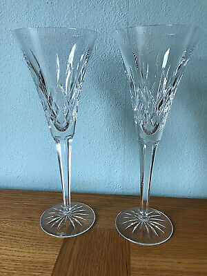Waterford Crystal Pair Of Lismore Toasting Champagne Flutes Glasses 23cm Tall • 54.99£