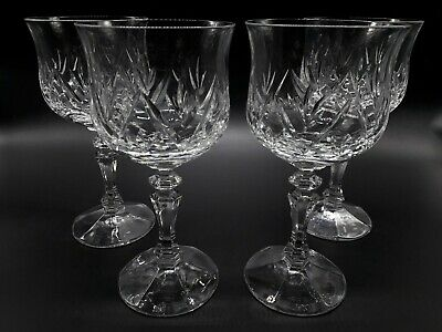 Bohemian Wine Glass Cut Crystal Bell Shaped  & Faceted Stem Large Clear Stemware • 19.95£