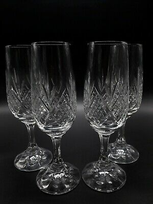 Bohemian Champagne Flute Cut Crystal  & Faceted Stem Large Clear Stemware X4 • 19.95£