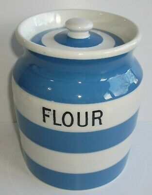 T G Green Blue Cornishware Large Size Flour Jar And Cover • 29.99£