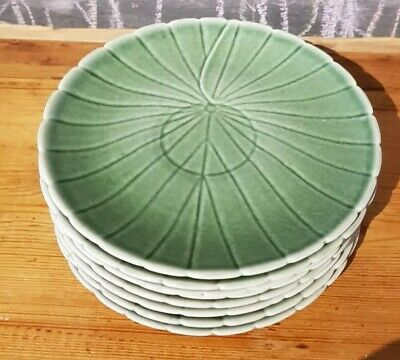 8 X Branksome Pottery Poole China Lotus Flower Green Under Plates 1950's 1960s • 45£