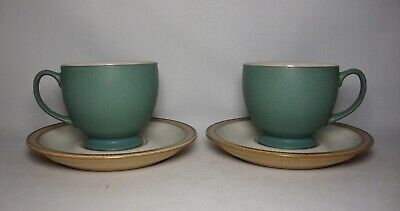 2 X DENBY LUXOR TEA CUPS & SAUCERS IN EXCELLENT CONDITION • 14.50£