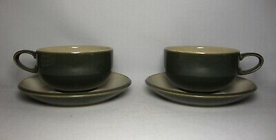 2 X DENBY SMOKESTONE TEA CUPS & SAUCERS IN VERY GOOD CONDITION • 16.50£