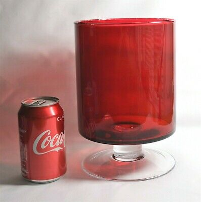 RUBY RED VASE GOBLET LUMINARC LARGE 70's GLASS 9  INCH TALL DISPLAY BOWL VINTAGE • 14.99£