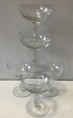Set Of 5 Beautiful Champagne Coupe Glasses Etched Vintage • 14.99£