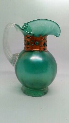 Anthony Stern Iridescent Water Jug With Copper Collar Signed • 115£