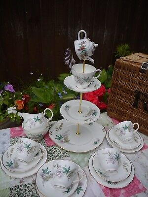 Vintage Royal Duchess Louise Mad Hatter Tea Set  Cake Stand & 4 Trio's    • 40£