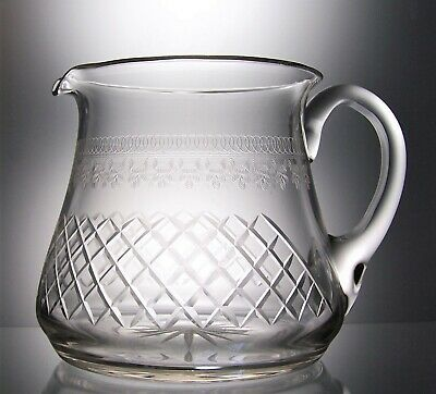 Antique Pall Mall Lady Hamilton Engraved & Cut Glass Pimms  Water Jug - 1.4 Ltr • 20£