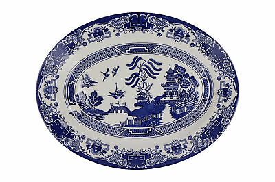 An Old Willow English Ironstone Oval Serving Dish Blue & White • 19.95£