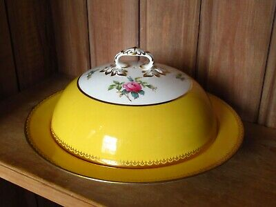 Antique Copeland Spode Golden Yellow Hand Painted Roses Lidded Muffin Dish • 18£