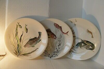 3 X Vintage Johnson Bros Fish Plates.. Oval.. A/F • 10.99£