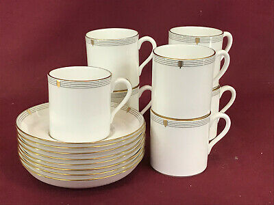 SPODE OPERA GOLD 7 X COFFEE CUPS + 8 SAUCERS - BRAND NEW/UNUSED Made In England • 8.99£