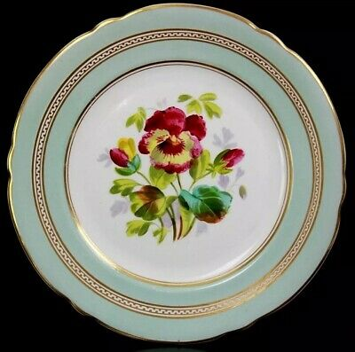 Antique English Fine Porcelain Display Flower Plate Circa 1860 • 75£