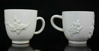 Antique Bow Blanc De Chine Pair Of Coffee Cups Prunus Blossom 18th Century • 125£