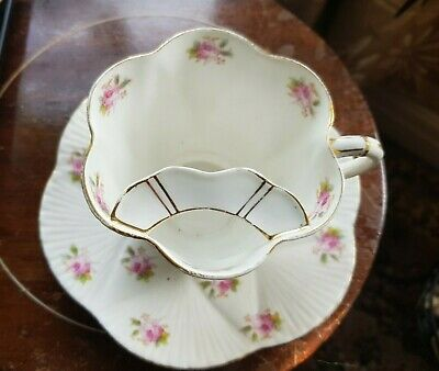 REDUCED.Rare MOUSTACHE Antique Foley China Pink Roses Pattern Cup & Saucer • 75£