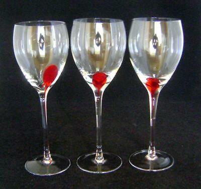 Three Vintage  Wine Glassses With Red Glass Streak  On Bowl And Stem • 10£