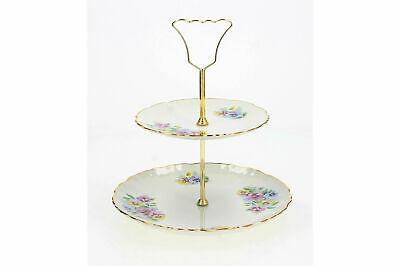 A Vintage English Old Foley Cake Stand Floral Pansies 1950's - 1960's • 24.95£