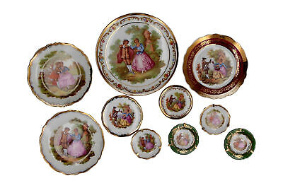 10 X Small / Miniature Limoges Fragonard Dishes / Plates French Porcelain • 19.95£