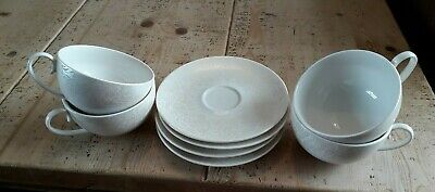 Beautiful Monsoon Denby 4 Cups And Saucers-ivory-iridescent-stunning! • 2.20£