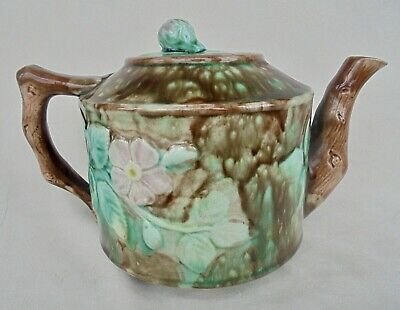 Antique Scottish Majolica Teapot Decorated With Roses - Rose Bud Finial • 9.99£
