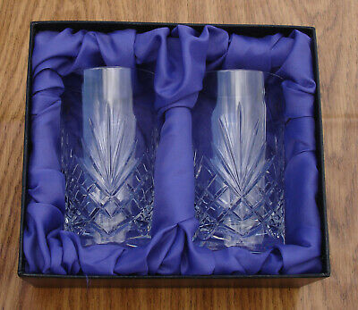 PAIR HAND CUT GLASS TUMBLERS Couples Wedding Anniversary Gift PRESENTATION BOX  • 69.95£