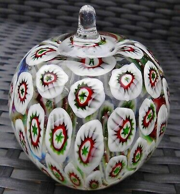 Vintage Murano Millefiori Canes Large Solid Glass Apple Paperweight • 0.99£