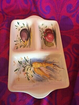 Vintage Kitsch Mancioli Hand Painted In Italy Vegetable Serving Platter Tray • 9.99£