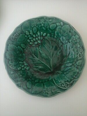 Antique 9  Teal Green Strawberry Plant Plate Circa Late 1800s  • 4.99£