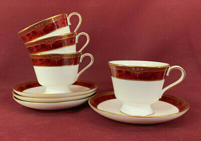 SPODE BORDEAUX 4 X TALL TEACUPS & SAUCERS - BRAND NEW/UNUSED Made In England • 4.99£