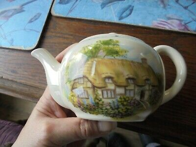 New Forest Ye Olde Thatched Cottage Scene Brixham Pottery Miniature Teapot. • 5.99£