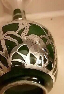 Unusual Japanese? Silver Egret/Heron Design Over A Pottery Miniature Vase.  • 30£
