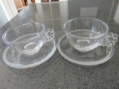 Two Vintage Glass Imperial Candlewick Cups And Saucers Usa • 9£