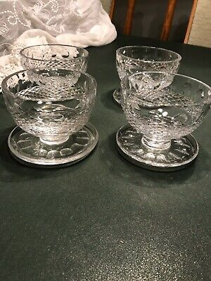 4 Waterford Crystal Colleen Pattern 3  Footed Dessert Bowls Dishes • 30£