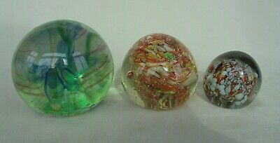 Trio Of Beautiful Glass Paperweights ~ See Photographs • 4.20£