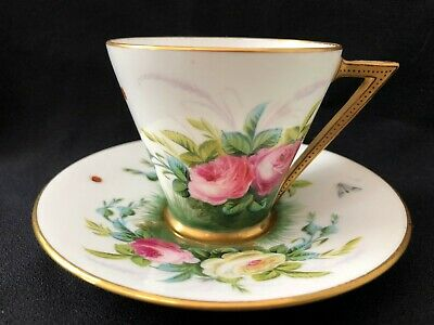 George Jones Crescent China Cup And Saucer - Roses And Insects C1870 • 20£