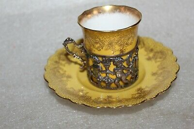 AYNSLEY COFFEE CUP & SAUCER IN ART NOUVEAU SILVER CUP HOLDER B'ham 1905  (LOT2 ) • 24.99£