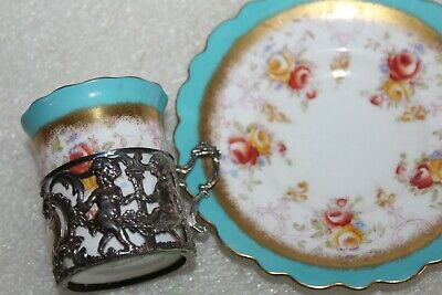 AYNSLEY COFFEE CUP & SAUCER IN ART NOUVEAU SILVER CUP HOLDER B'ham 1905  (LOT5 ) • 22.99£