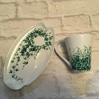 Ringtons Afternoon Tea Plate &  Mug Trailing Ivy Glittery Detail By Wade - Gift • 5.99£
