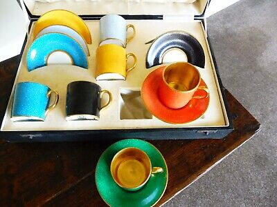 Antique Allertons Original Cased Set Of Demi Tasse Coffee Cans And Saucers • 30£
